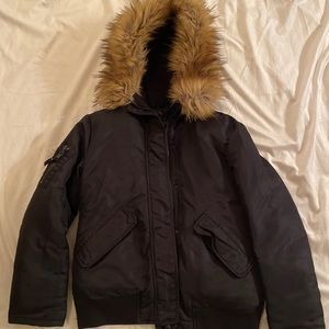 S13 Girls Black Jacket with Fur Trim on hood